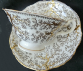 CAREWORN - G F Bowers early Victorian tea cup & saucer - Fibre pattern